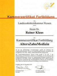 Dr. med. dent. R. Klaus – Kammerzertifikat Fortbildung AltersZahnMedizin