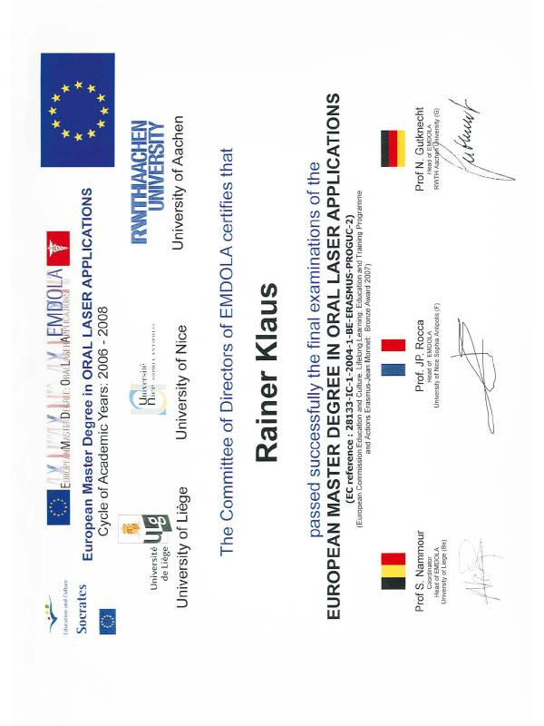 Dr. med. dent. R. Klaus – European Master Degree in Oral Laser Applications
