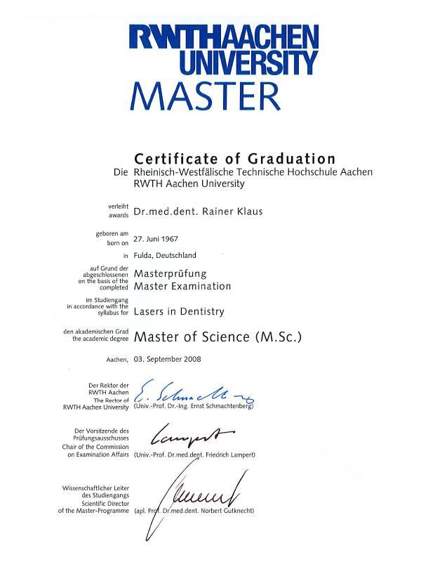 Dr. med. dent. R. Klaus – Master of Science (M.Sc.)